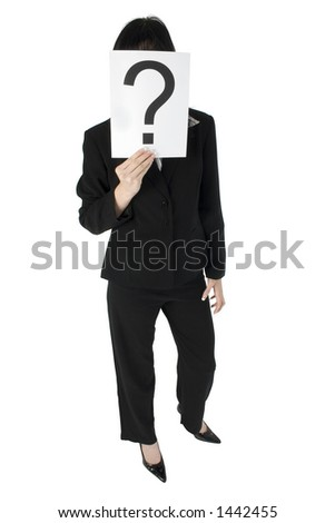 Young business woman with question mark in front of face.