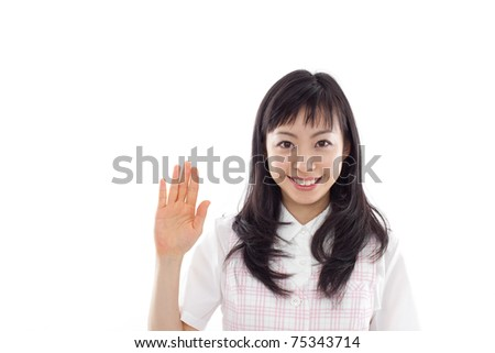 young business woman with raised hand isolated on white back ground