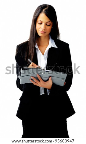 young business woman writing in her diary, isolated on white