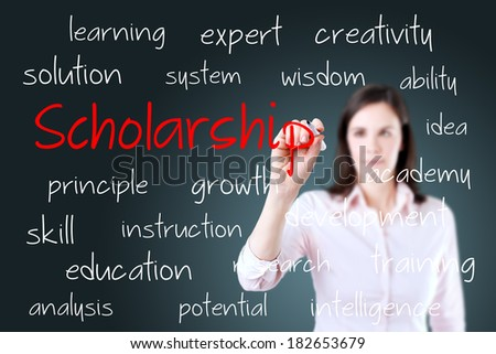 Young business woman writing scholarship concept.