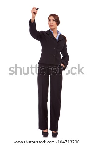 young business woman writing something with marker on white background