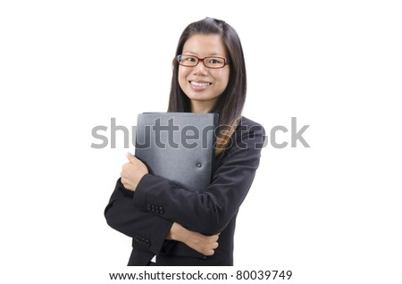 Young Business Women holding file standing on white background