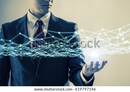 young businessman and communication network concept. 3D rendering. abstract mixed media. #619797146