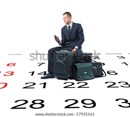 young businessman and lots of baggage on 3d calendar