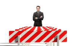 young businessman and sport obstacle