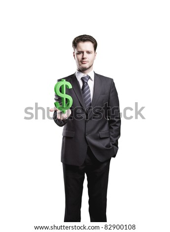 Young  businessman chooses a green US dollar sign.Isolated on a white background