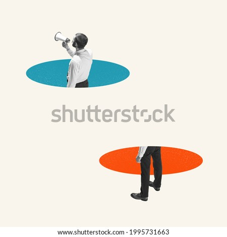 Young businessman, clerk with megaphone isolated on light background. Blue and orange circles. Contemporary art collage. Inspiration, idea, trendy. Concept of professional occupation, business, ad.