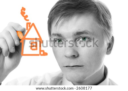 young businessman design marker house on white background