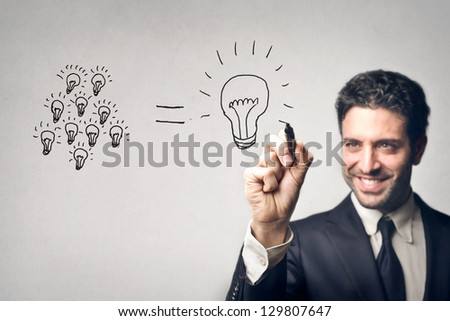 young businessman drawing
