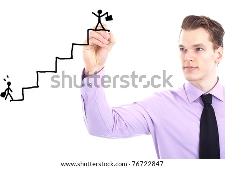 young businessman drawing a career ladder concept, isolated on white