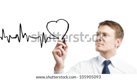 young businessman drawing chart heartbeat