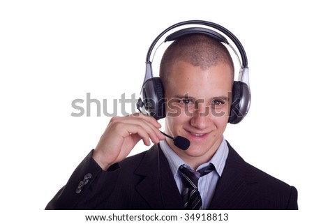 young businessman from a help desk service