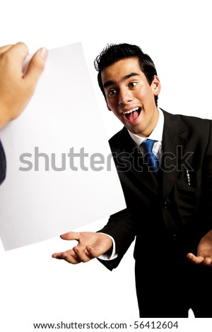 young businessman getting great news isolated on white