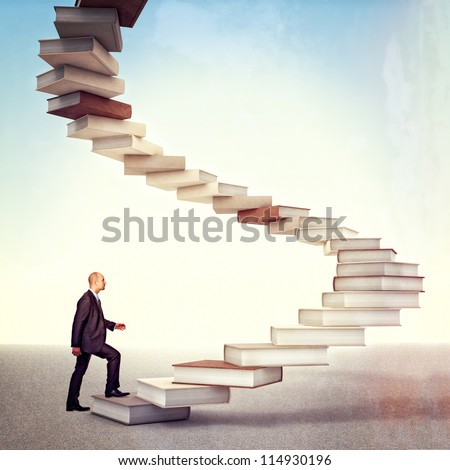 young businessman go up on 3d books stair
