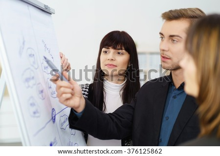 Young businessman having a serious discussion with two female co-workers as they stand together discussing a hand written flip chart