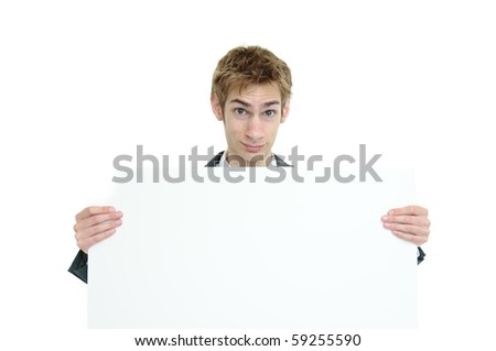 Young businessman holding a white cardboard sign with copyspace above and below