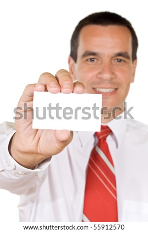 Young businessman holding blank business card - isolated
