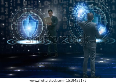Young businessman holding laptop use hand touch cyber security hologram virtual space futuristic technology with artificial intelligence or AI,concept Super Smart Society 5.0 automation and Cyberspace
