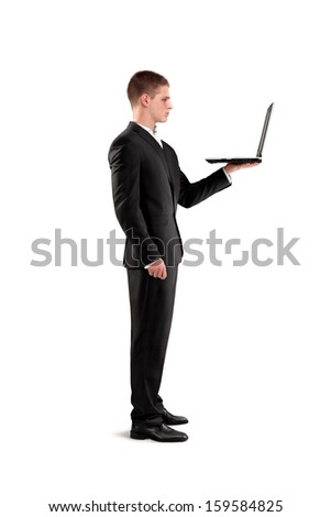 young businessman holding notebook in his hand
