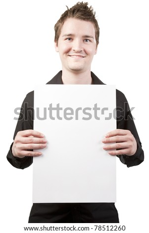 Young businessman holding sign vertical on white background