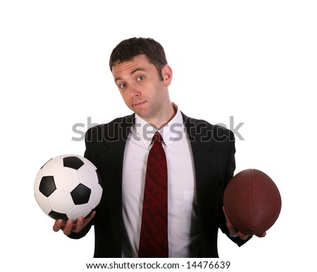 Young Businessman in a quandry over soccer vs football