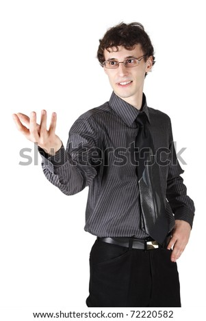 young businessman in office clothes making gesture, looking at side, isolated