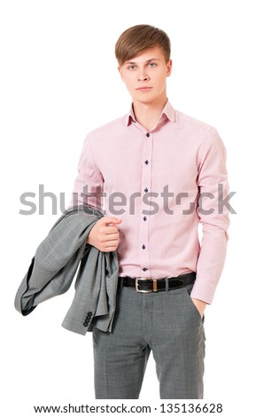 Young businessman in suit, isolated on white background