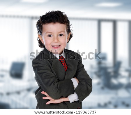 Young businessman in the office with an elegant suit