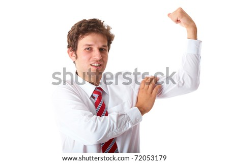 young businessman in white shirt and red tie shows his strength, isolated on white