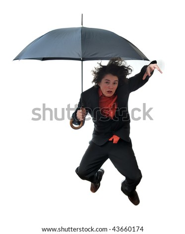 Young businessman leaping with umbrella isolated on white background