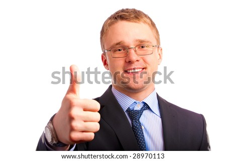 Young businessman lifts finger meaning that all well.