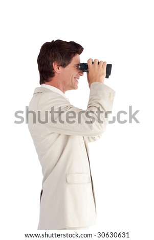 Young Businessman looking through a binoculars