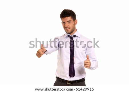 Young businessman ok symbol gesture with two hands, isolated on white background