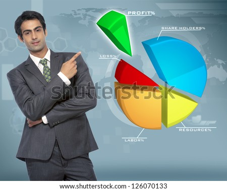 young businessman pointing at pie chart on business background