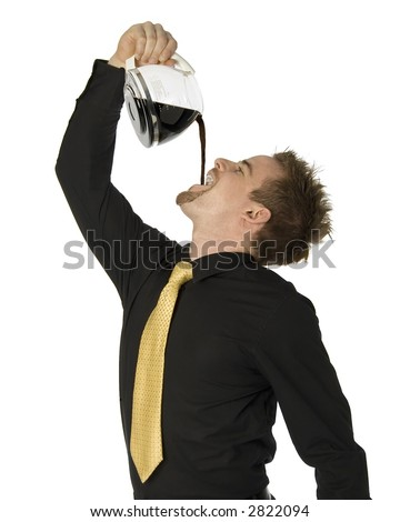 young businessman pouring coffee down his throat