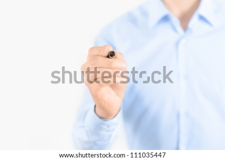 Young businessman prepare to start drawing concept. Isolated on white.