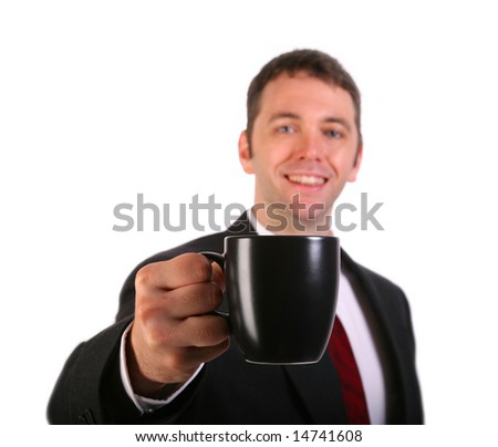 Young Businessman presenting a Cup of Coffee isolated on White Background