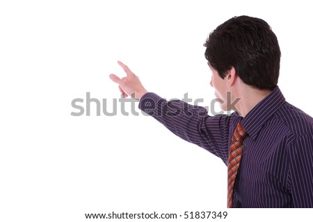 young businessman pressing an imaginary button over white