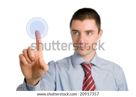 Young businessman pushing an empty blue button. you can write on it whatever you want - stock photo