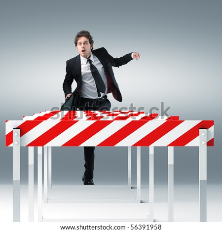 young businessman run towards 3d sport obstacle
