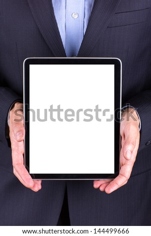 Young businessman's hands working on tablet pc isolated on white