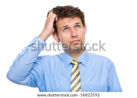 young businessman scratching his head, hard decision, studio shoot isolated on white background
