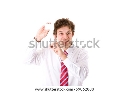 young businessman shows his empty, blank card, point to it with his finger, studio shoot isolated on white