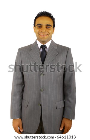 Young businessman smiling, isolated on white