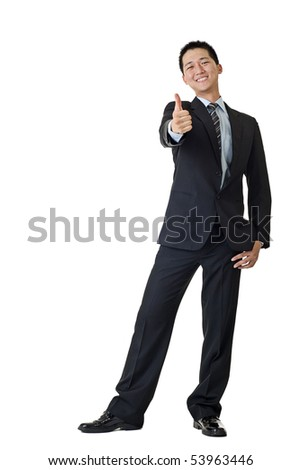 Young businessman smiling portrait isolated on white background.