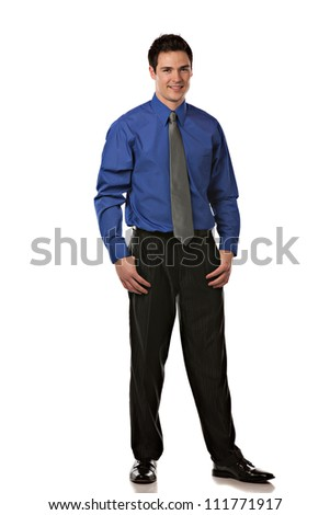 Young Businessman Standing Full Body Length Smiling on Isolate White Background - stock photo