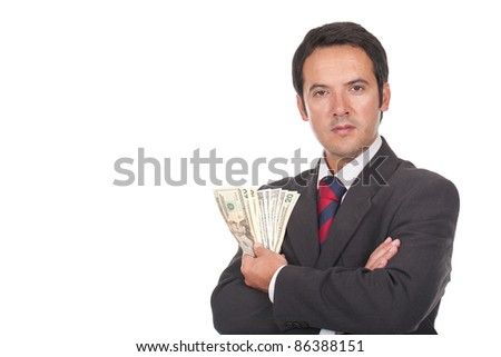young businessman standing with a lot of dollar bills on his hand