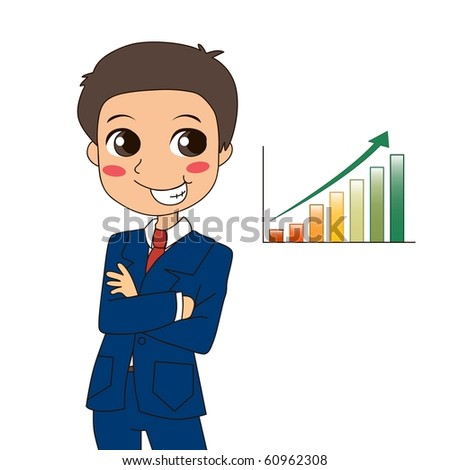 Young businessman thinking about increasing profits and success. Raster version of vector illustration ID: 60889234