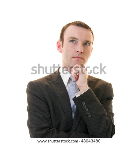 young businessman thinking on white background