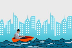 Young businessman using a laptop while riding boat on the sea with cityscape background
